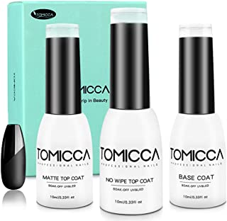 Matte and Gloss Top Coat No Wipe Gel Base Coat Set, 10ML 3 Bottles Glass Shiny Effect Quick Dry Hard-wearing Sock Off UV LED Nail Gel Polish