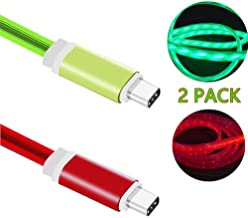 DECVO Lighting Cable 360 Degree Light Up Visible Flowing LEDType C Charger Cable to USB Syncing and Data Cord for Sumsung S8/S8+/C9/Pro10/Note 6/Note 8, Moto Z, LG G5 (RED+GREEN, 2 PC)