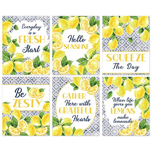 "Lemon signs Art Prints, Inspirational Quote Blue Pattern Yellow Lemon Pictures Set Of 6(8""X10"", Unframed), Fruit Botanical Poster Green Leaf Modern Wall Art For Bed RoomLiving Room Kitchen Decor"