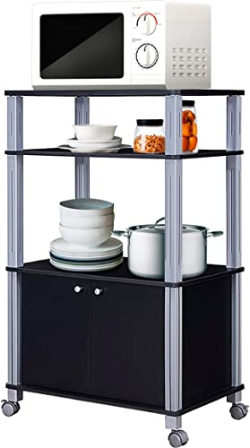 2021 Giantex Rolling Kitchen Baker's Rack Microwave Oven Stand Utility online sale Cart Multifunctional Display online sale Shelf on Wheels with 2-Tier Shelf and Cabinet Spice Organizer for Kitchen Dining Room Furniture (Black) sale