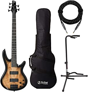 Ibanez 5-String Electric Bass Guitar (GSR205SM) with Gig Bag, Stand and Knox Guitar Cable (4 Items)