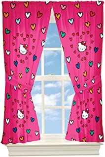 4pc Sanrio Hello Kitty Curtains Free Time Hearts Window Panels and Tie-Backs