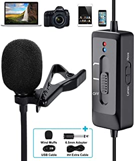 Professional Lavalier Microphone for iPhone, Camera, PC, Android, Lavalier Lapel Microphone with USB Charging, Omnidirecti...