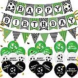 Decoraciones de Fiesta de Fútbol CHEPL Globo de Látex Set de Decoracione de Fiesta Banner de Feliz Cumpleaños Suministros de Fiesta