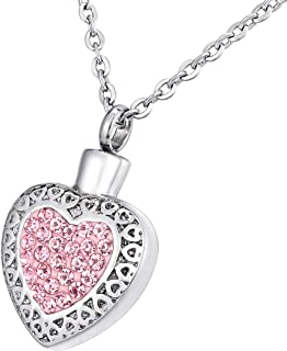 Aokarry Silver Round Tag Blue Bead Cubic Zirconia Memorial Ash Urn Necklace Stainless Steel Cremation