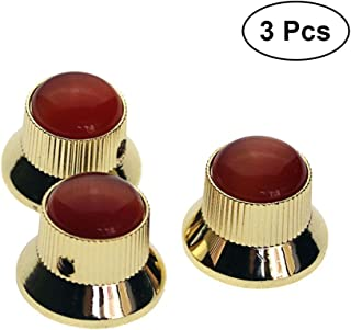 Artibetter 3pcs Electric Guitar Knobs Buttons Metal Guitar Knobs for Fender Strat Stratocaster Electric Guitar Parts Replacement