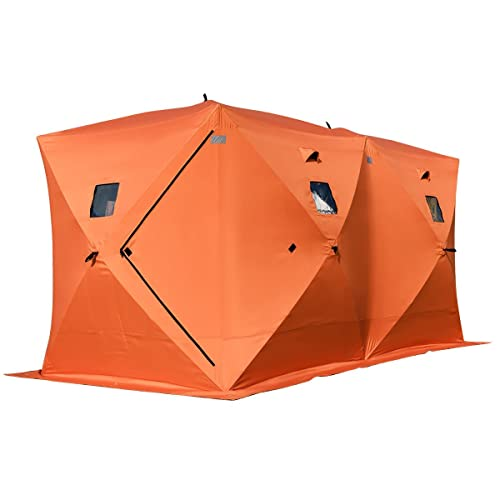 Tangkula Pop-up Ice Shelter 8-Person with Detachable Ventilation Windows & Carry Bag