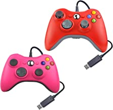 Wired USB Controller for Xbox 360 Compatible with Microsoft/Windows/PC 1 Pack (Pink & Red)