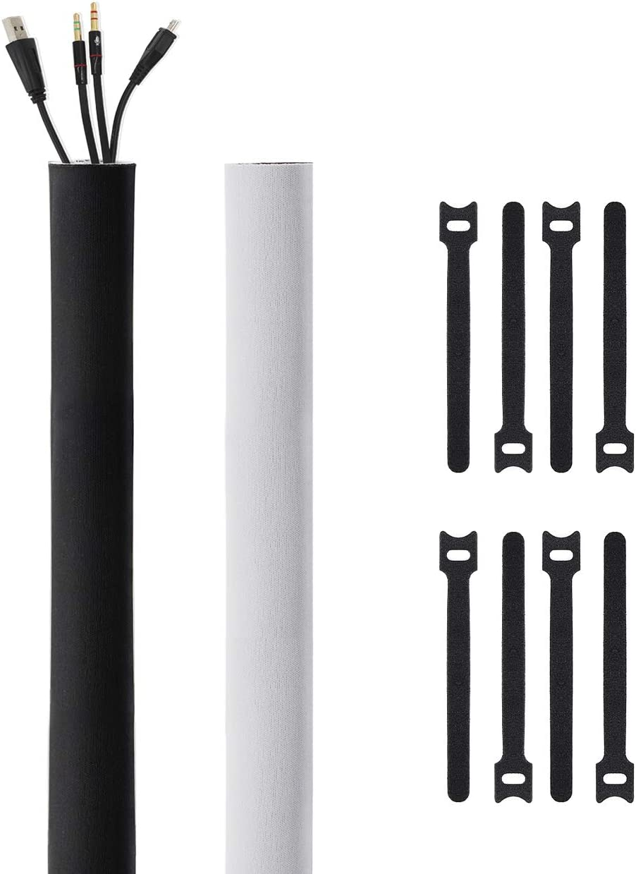 Kootek 118-Inch Cable Management Sleeves with Cable Ties, Neoprene Cable Organizer Cord Cover Wire Hider for TV Computer Office Theater (Black&White, Small)