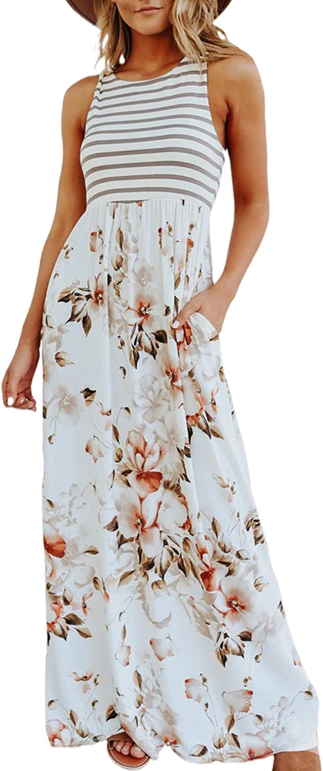 Simplee Women's Sleeveless Floral Printed Casual Maxi Dress Striped Summer Long Dress with Pockets