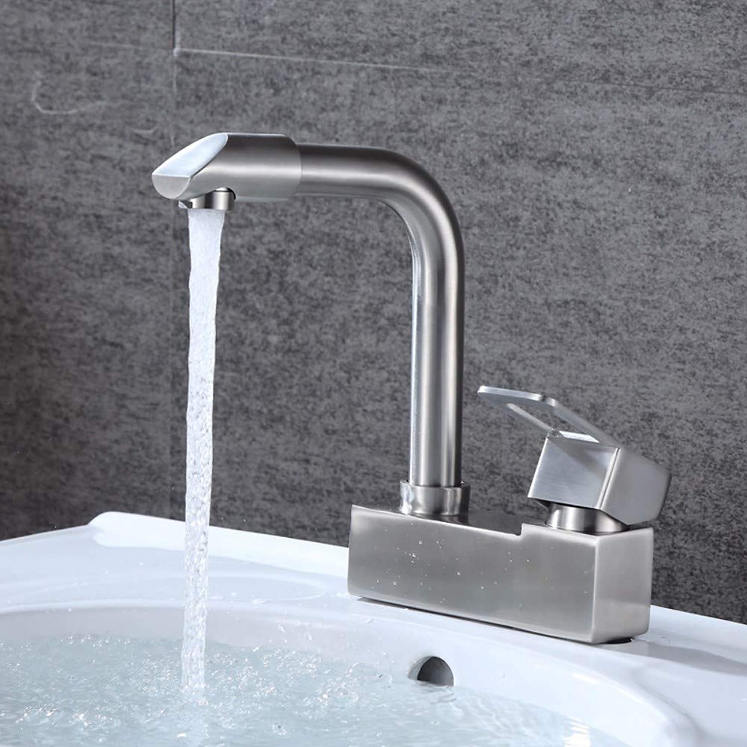 Basin Two Faucet Bathroom Wash Basin Sink Basin Hot and Cold Double Hole Single Turn Mouth Mixing Faucet