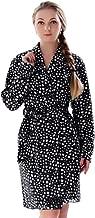 Bathrobe رداء الحمام Dressing gown Women's Fleece RobeLong-length Printed Home Service Robe Dressing Gown Women Ladies Gown Nightwear Morgan Bathrobe for Women Gifts(size:M,L,XL) (Color : Black, Size