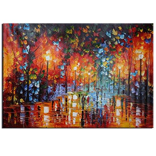 Pinzhi - Ampio dipinto a olio su tela realizzato a mano, paesaggio autunnale,...