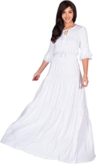 Womens Boho Casual Modern Vintage Design Loose Peasant Gown Maxi Dress
