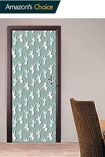 Door Wall Door Decals Wall Stickers Decor, Xmas Silhouettes Striped Door Stickers Self Adhesive Door Cover Removable 3D Art Wallpaper, 30.3W x 78.7H Inches