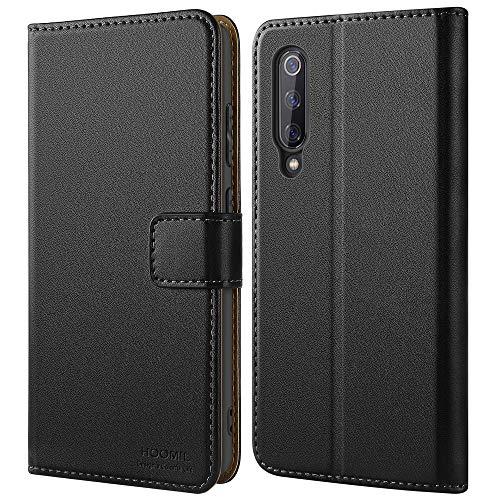 HOOMIL Handyhülle für Xiaomi Mi 9 SE Hülle, Premium PU Leder Flip Schutzhülle für Xiaomi Mi 9 SE Tasche, Schwarz