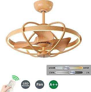 Ventilador de Techo Silencioso con Luz y Control Remoto, Dormitorio Invisible Color de Madera Pintura de Hierro Forjado Lámpara de Ventilador de Conversión de Frecuencia Creativa, Wood grain color