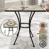 Jago Mosaic Table Square - 60x60x70cm, Beige Black White, Solid and Stable - Different Designs Available - Side, Garden, Patio, Outdoor, Balcony Furniture