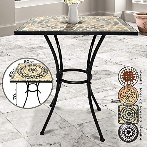 Jago Tavolo Mosaico - Modello a Scelta: Rotondo (Ø 60x70cm) o Quadrato (60x60x70cm), in Ceramica - Tavolino da Esterno, Giardino, Balcone con Effetto Mosaico