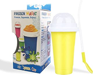 Homemari Quick-frozen Smoothie Cup, Cooling Cup, Double-layer Squeeze Cup, Silicone Rapid Cooling Cup(yellow)