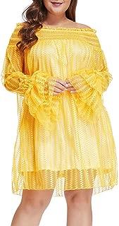 Women Plus Size Mesh Lace Off Shoulder Ruffle Long Sleeve Party Mini Dress