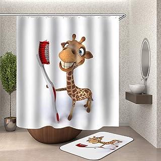 Chickwin Cortina de Ducha Antimoho, 3D Impermeable Cortinas Baño de Tela 180X180cm Poliéster Digital Vibrante Impresión Diseño con 12 Anillos