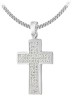 Tuscany 纯银水晶套装十字架吊坠 46 厘米/18 英寸