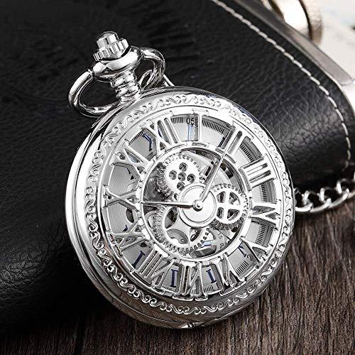 WUXIAO Exquisite Taschenuhr: Taschenuhr, Bronze Silber Mechanische Taschenuhren Herren Steampunk Skeleton FOB Uhren Clip Kette Uhr Geschenke für Mencommodity Code: LXJ - 43 (Color : Silver)