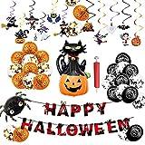 Exnemel 121 Pezzi Palloncini in Lattice Halloween Party Kit, Festoni Halloween, Banner di Halloween Palloncini, Striscioni, Ragno, Gatto Nero, Hook Addobbi di Halloween, Decorazioni Halloween Casa