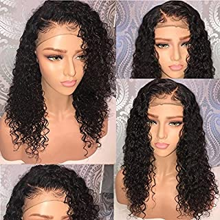 13x6 Lace Front Human Hair Wigs Wet Wavy 150% Density for Women Natural Black Brazilian Remy Hair Curly Glueless Top Lace Wigs Pre Plucked with Baby Hair (14 inch with 150% density)