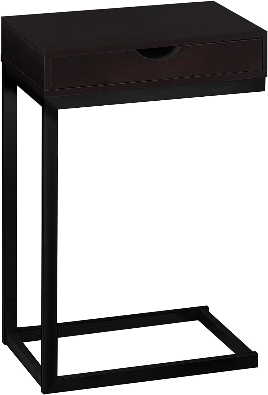 Monarch Specialties I 3069 Black Metal with A Drawer Accent Table, Cappuccino