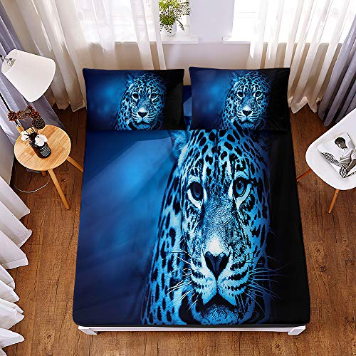 Bedding Fitted Sheets with 2 Pillowcases, Morbuy Forest Leopard 3D Printed Bedding Microfiber Soft Fade Resistant Bed Sheets for Single Double King Size Bedsheet Extra Deep 30cm (160 * 200 * 30cm,D)