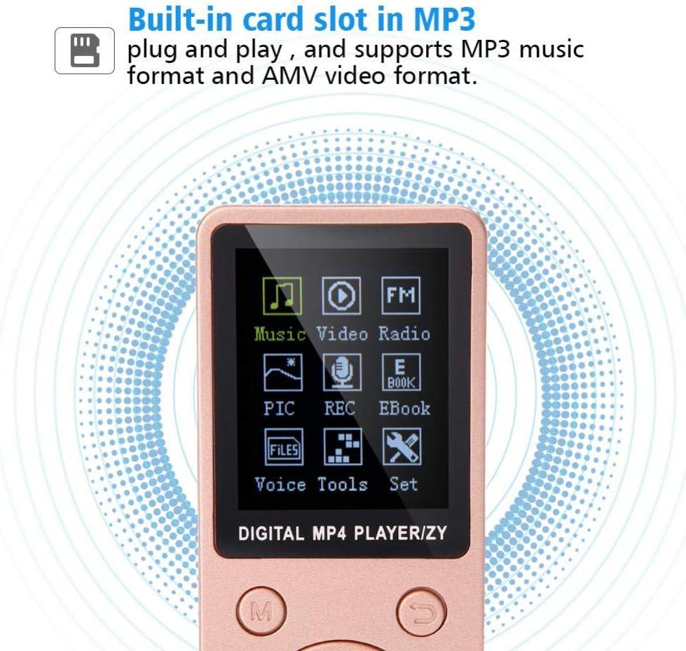 Lettore multimediale MP4 MP3 con Slot per schede TF e-Book//Video//Lettore Musicale con Cuffie Oro Rosa Annadue Lettore MP4 Portatile da 32 GB