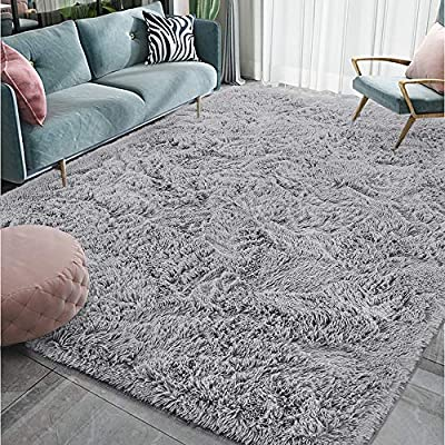 Homore Luxury Fluffy Area Rug Modern Shag Rugs for Bedroom Living Room, Super Soft and Comfy Carpet, Cute Carpets for Kids Nursery Girls Home, 6x9 Feet Gray