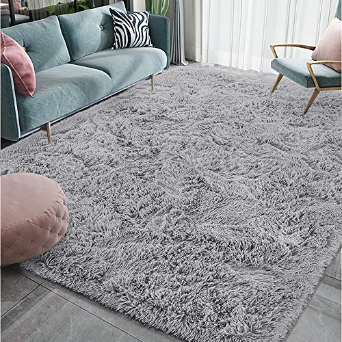 Homore Luxury Fluffy Area Rug Modern Shag Rugs for Bedroom Living Room, Super Soft and Comfy Carpet, Cute Carpets for Kids Nursery Girls Home, 4x5.9 Feet Gray