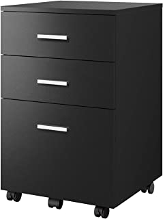 DEVAISE 3-Drawer Vertical File Cabinet, Wood Filing Cabinet for Letter Size, Black
