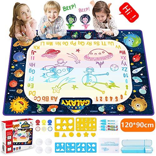 JOYSPACE Wasser Doodle Matte Wasser Malmatte Magic 120*90cm Aqua Doodle Matte mit Wasserstift Kinderspielzeug Lernspielzeug für Jungen Mädchen Kinder ab 3 4 5 6 7 8 Jahren