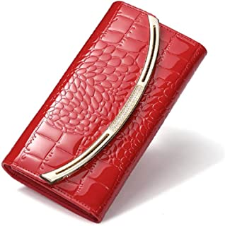 Pusaman Women's Wallet, Long Section of Handbags, Leather tri-fold Wallet Large Capacity (Color : Red, Size : 19 * 10 * 3.5CM)
