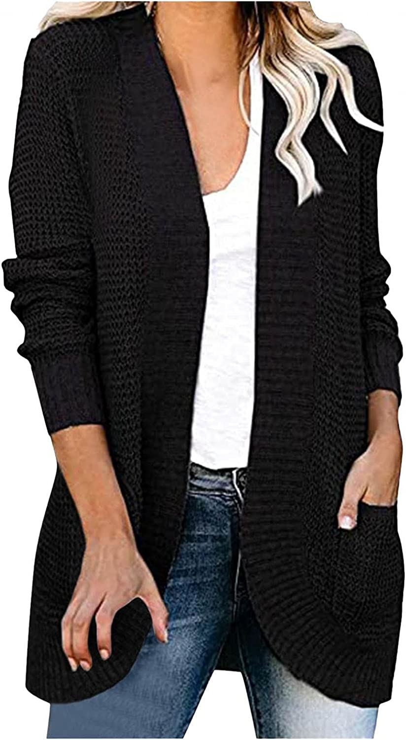 Women's Fall Fashion Long Sleeve Open Front Casual Lightweight Soft Knit Cardigan Sweater Coat Outerwear with Pockets