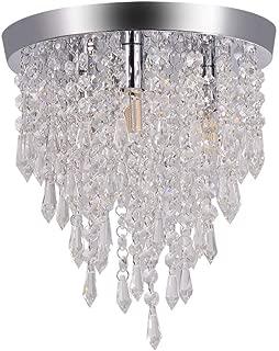 Ywoow Chandelier Crystal Chandelier Lighting 3 Lights Flush Mount Ceiling Light G9 US Warehouse Sending