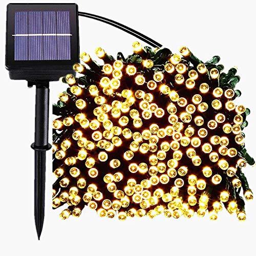 Sol jullampor, 200 LED 8 lägen solljusslingor vattentät stjärnklar ljusslingor för inomhus/utomhus kommersiell dekor atmosfär trädgård trädgård trädgård trädgård trädgård bröllop semester fest (mjuk vit)