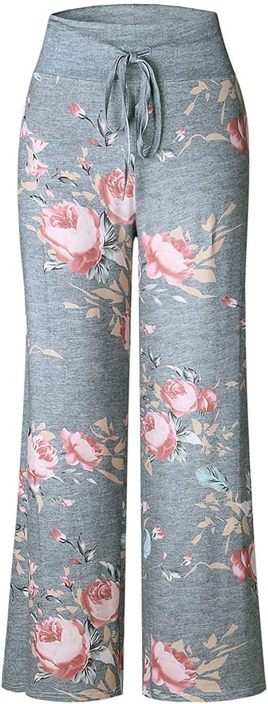 Tinffy Women Casual Print Comfy Drawstring Lounge Pants Loose Sport Long Pants Casual