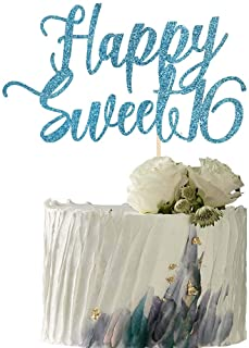 YUINYO Happy Sweet 16 Cake Topper -Cheers to 16 Year - Happy 16th Birthday Cake Topper- Sweet Sixteen /16th Wedding Annive...