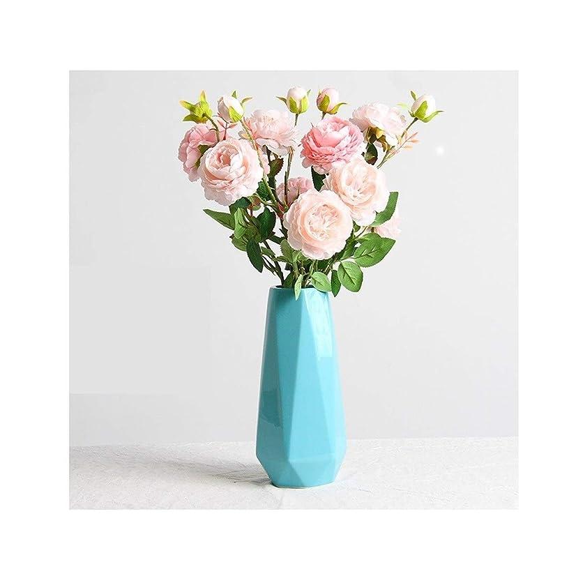 腐ったによって交じるCPWJD セラミック花瓶、シンプルな装飾、デスクトップフラワーアレンジメント/デコレーション (Color : Blue, Size : L)