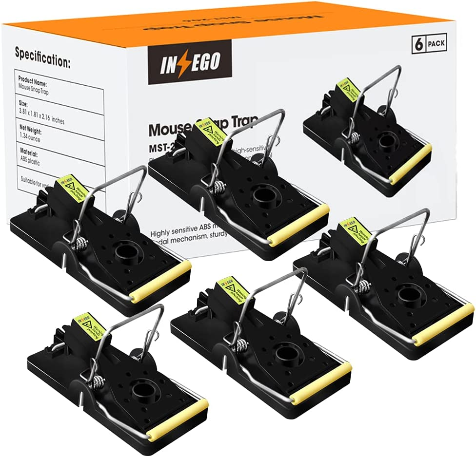 Mouse Traps, INSEGO Mouse Snap Trap for Indoor and Outdoor Quick Effective Rat Killer and Reusable Rat Traps That Work Best Rodent Traps for Small Mice and Mouse-6 Pack