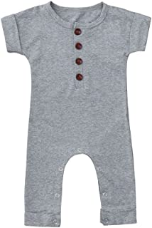 Sameno Baby Infant Boys Girls Simple Short Sleeved Jumpsuit Solid Color Jumpsuit Romper Clothes