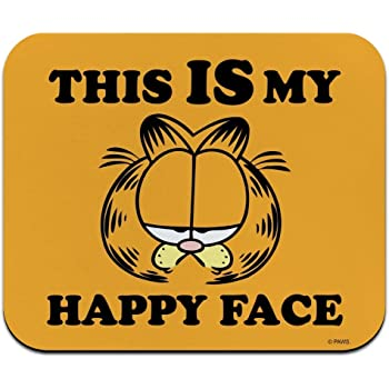 Amazon Com Garfield This Is My Happy Face Low Profile Thin Mouse Pad Mousepad Office Products