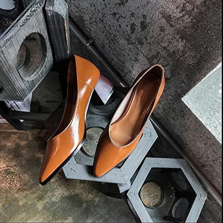 Xue Qiqi Court Schuhe Wilder Flacher Mund der Spitzen Schuhe mit Einer einzelnen Schuhfrau mit Schaufelschuhen, zum von hohen Absätzen, 36, Braun zu Arbeiten  | Hochwertige Produkte  | Ausgezeichnet