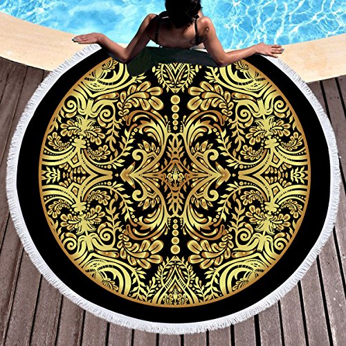 Koongso - Toalla de Playa, diseño Redondo, Color Dorado, con borlas, tapizado Redondo de Boho, colchoneta de Playa de círculos, 150 cm
