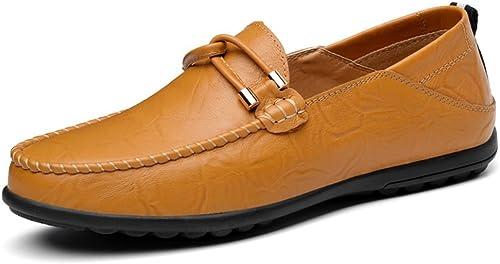 SRY-chaussures Mocassins Classiques à Talon Plat en Cuir pour pour pour Enfants, de Couleur Unie, jusquà la Taille 11MUS (Couleur   Jaune, Taille   11MUS) ae6